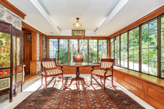 The sun room in a Westchester home that was reportedly owned by mobster Bugsy Siegel during the 1920s.