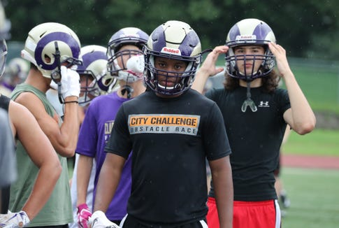 Clarkstown North football's Dupree Darden during practice Aug. 13, 2018.