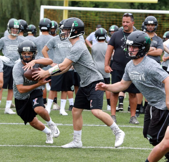 First day of football practice for Yorktown football team at the high school Aug.13, 2018.