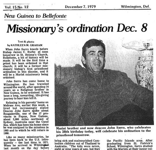 John Sarro pictured in 1979 in The Dialog, a newspaper run by the Diocese of Wilmington.