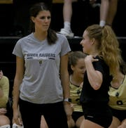 "Rider head volleyball coach Alysha Humpert (left) earned Coach of the Year honors in this year's ""Prestigious Nickys."""