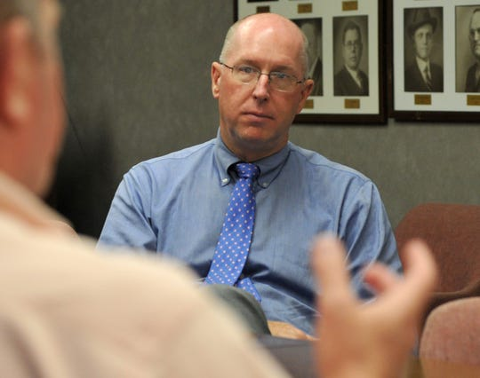 Wichita Falls Economic Steering Committee Chair, Dr. Jeff Stambaugh listens to Chair, Henry Florsheim during a meeting, Monday afternoon.