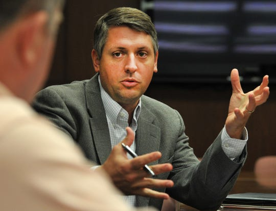 Wichita Falls Economic Steering Committee Vice Chair, Ben Hoover, talks with Chair Henry Florsheim during a meeting, Monday afternoon. Hoover will be heading an education action team set to support WFISD in passing a bond for improved school facilities.