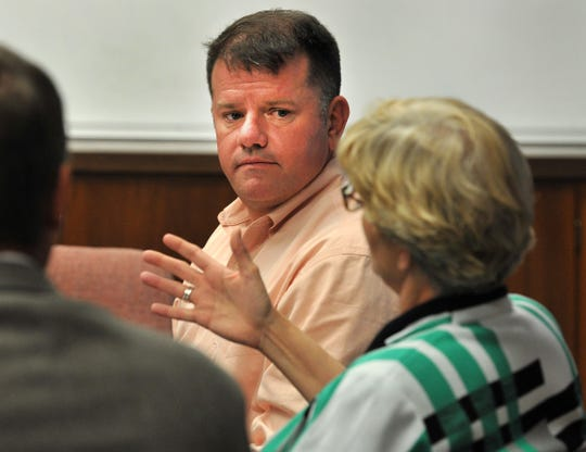 Wichita Falls Economic Steering Committee Chair, Henry Florsheim listens as Vice Chair, Phyllis Cowing talks during a meeting, Monday afternoon.