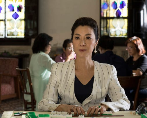 """Rachel (Constance Wu) challenged Eleanor Young (Michelle Yeoh) to a game of Mahjongg: a game at the center of the last studio film with an Asian ensemble cast: """"The Joy Luck Club."""""""