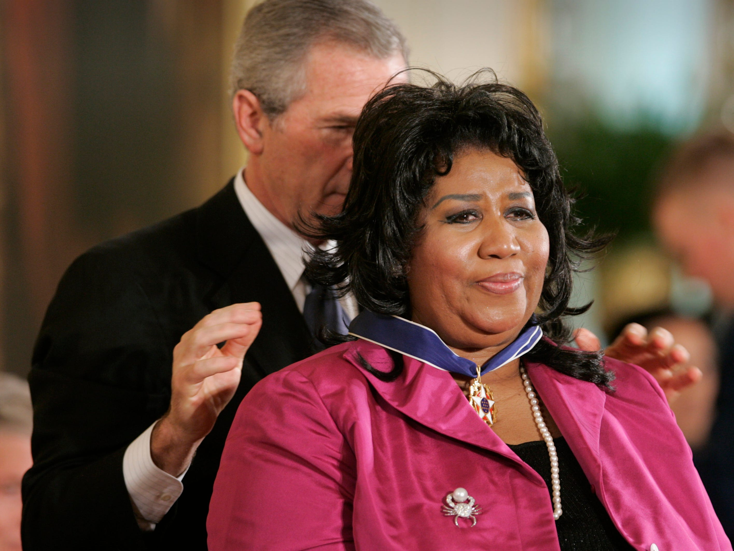 President Bush awards singer Aretha Franklin the Presidential Medal of Freedom Award in the East Room of the White House, Wednesday, Nov. 9, 2005, in Washington. The Presidential Medal of Freedom is the highest civilian award given.(AP Photo/Lawrence Jackson)