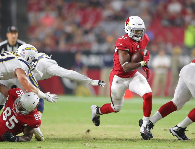 Cardinals RB David Johnson ran for 28 yards on two carries Saturday night.