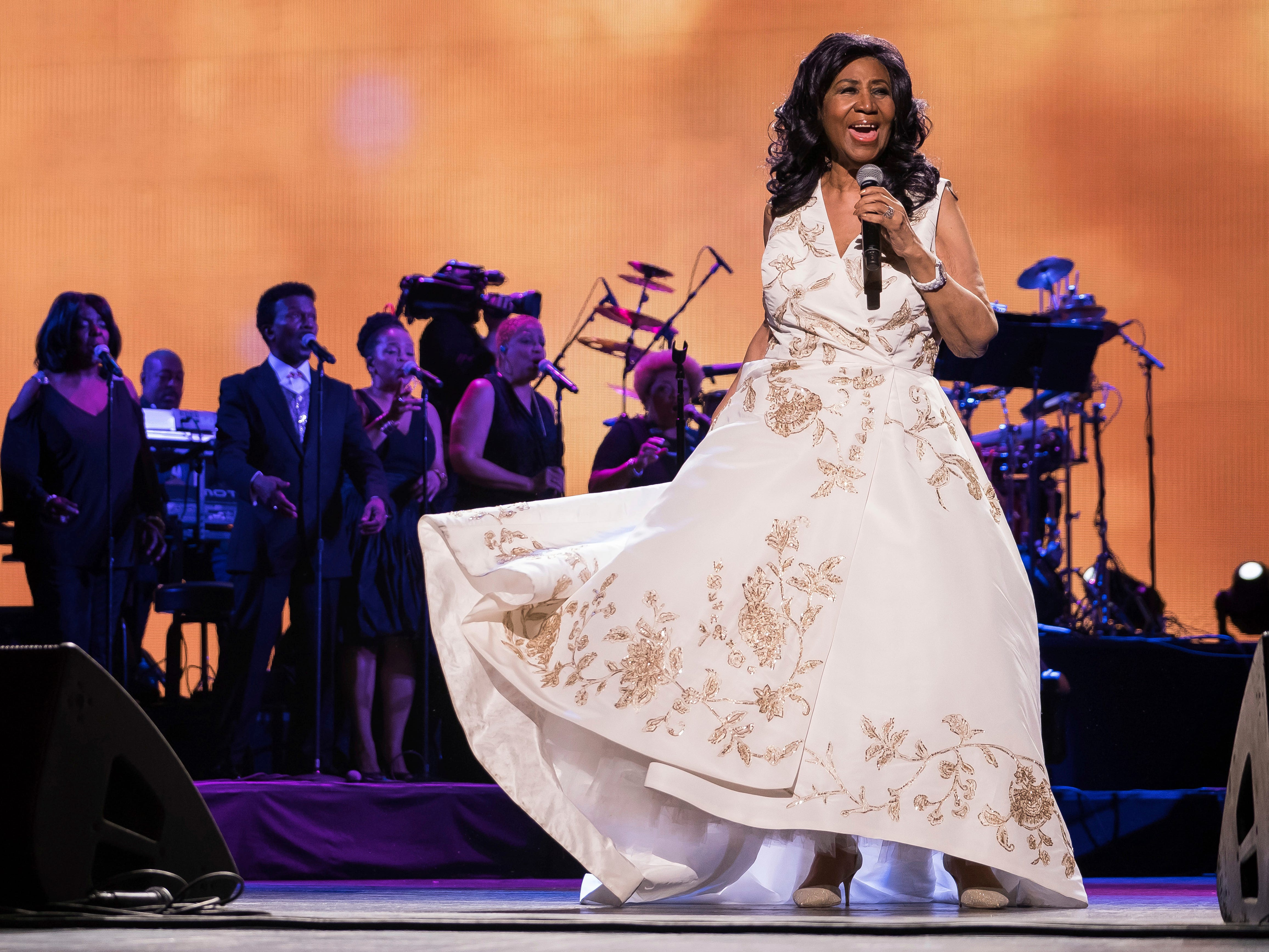 "Aretha Franklin performs at the world premiere of ""Clive Davis: The Soundtrack of Our Lives"" at Radio City Music Hall, during the 2017 Tribeca Film Festival, Wednesday, April 19, 2017, in New York. (Photo by Charles Sykes/Invision/AP) ORG XMIT: NYCS303"