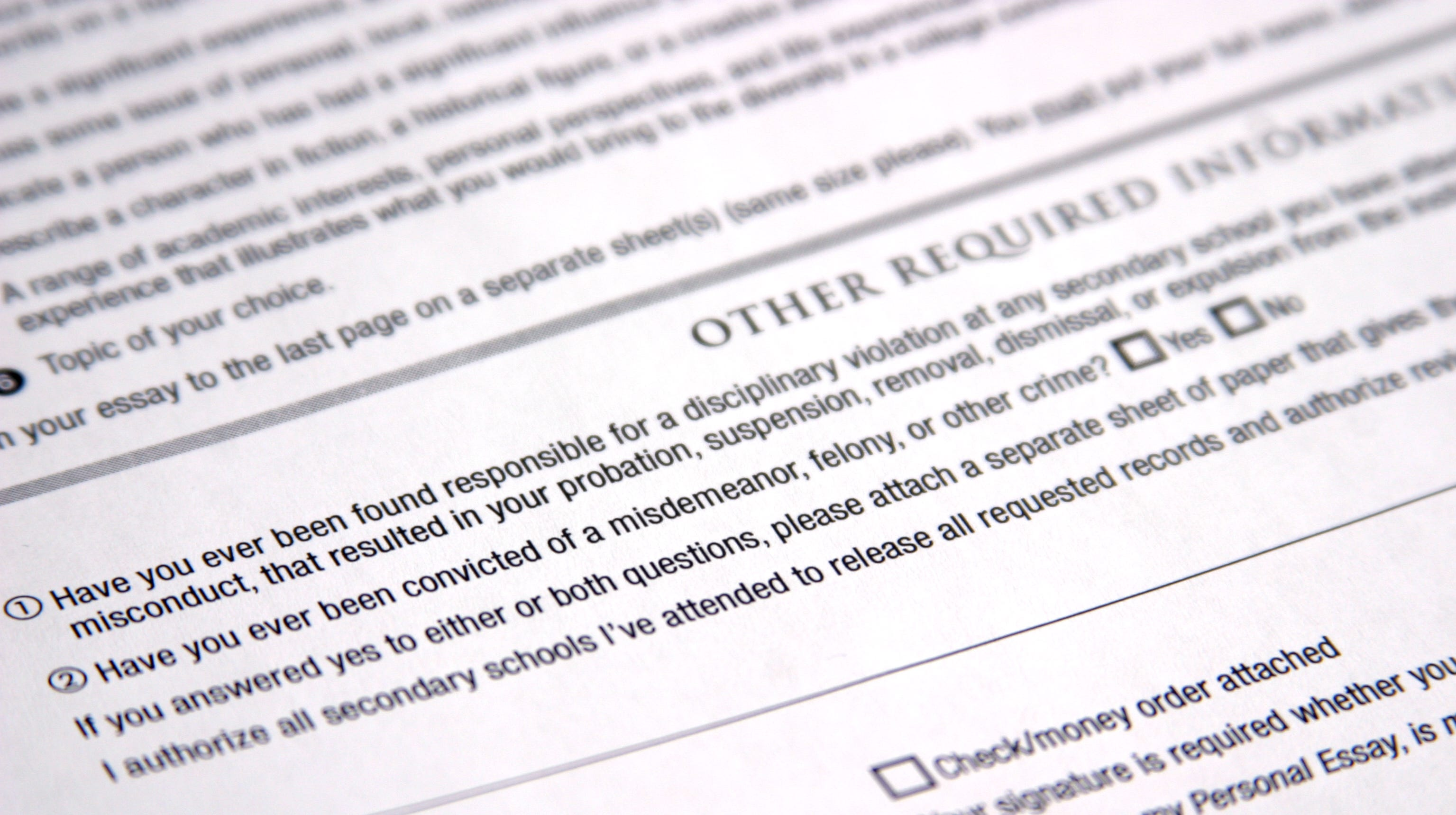 The Common Application's recently removed question concerning criminal records.