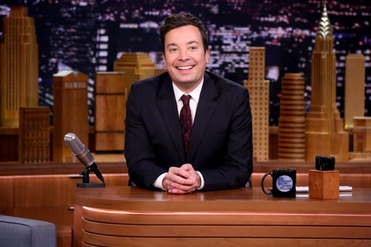 Jimmy Fallon is doing his show from his children's playroom with his wife working the camera (an iPhone).