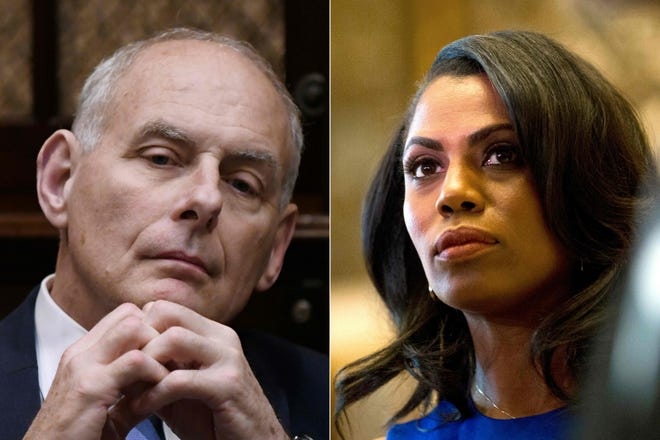 White House Chief of Staff John Kelly on June 21, 2018, and Omarosa Manigault Newman, at Trump Tower in New York City on Jan. 16, 2017. Photos by ORIG FILE ID: AFP_18C11I