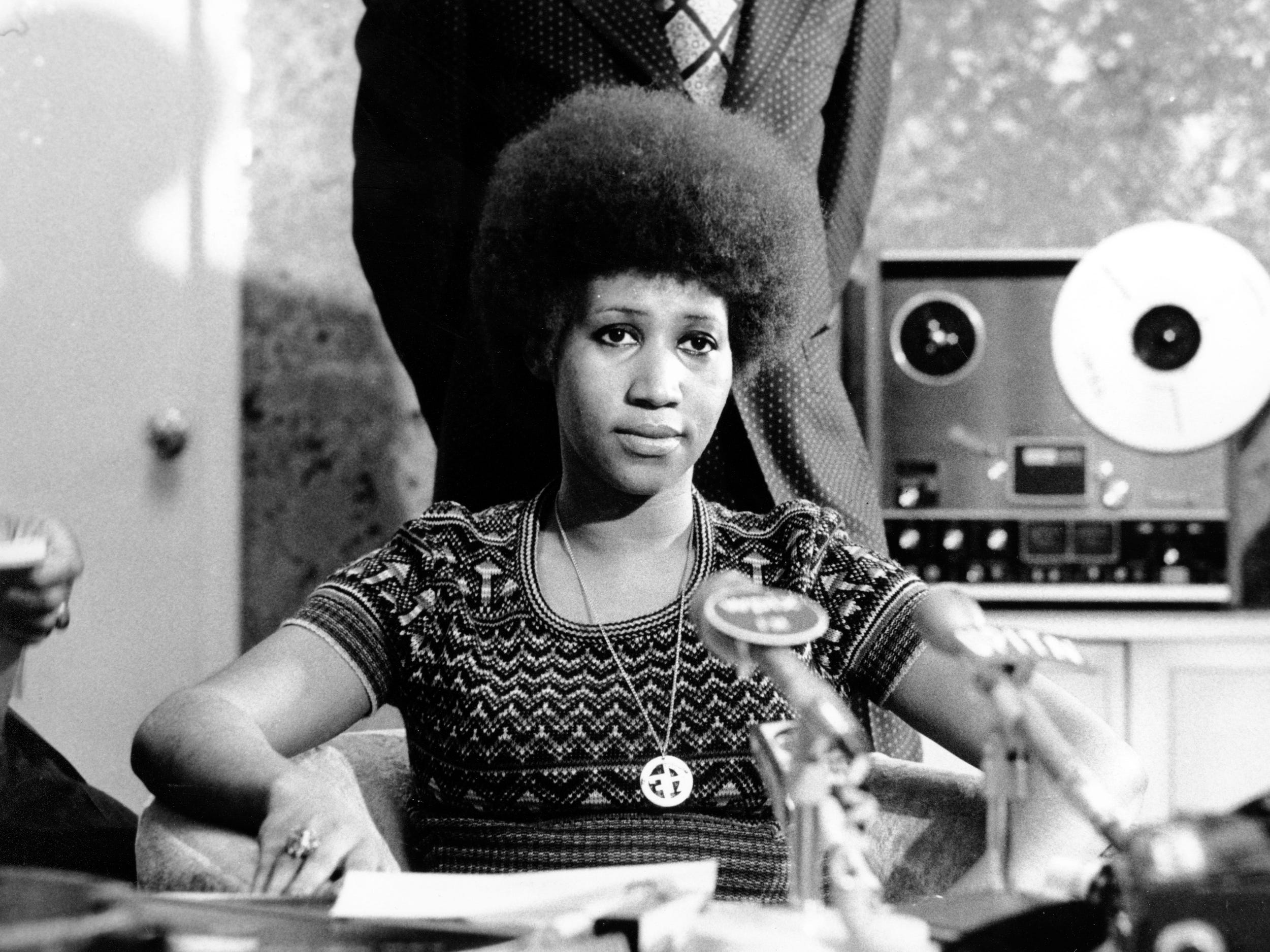Soul singer Aretha Franklin is shown at a news conference on March 26, 1973. (AP Photo)
