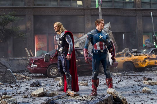 "Chris Hemsworth and Chris Evans team up as Thor and Captain America respectively in ""The Avengers."""