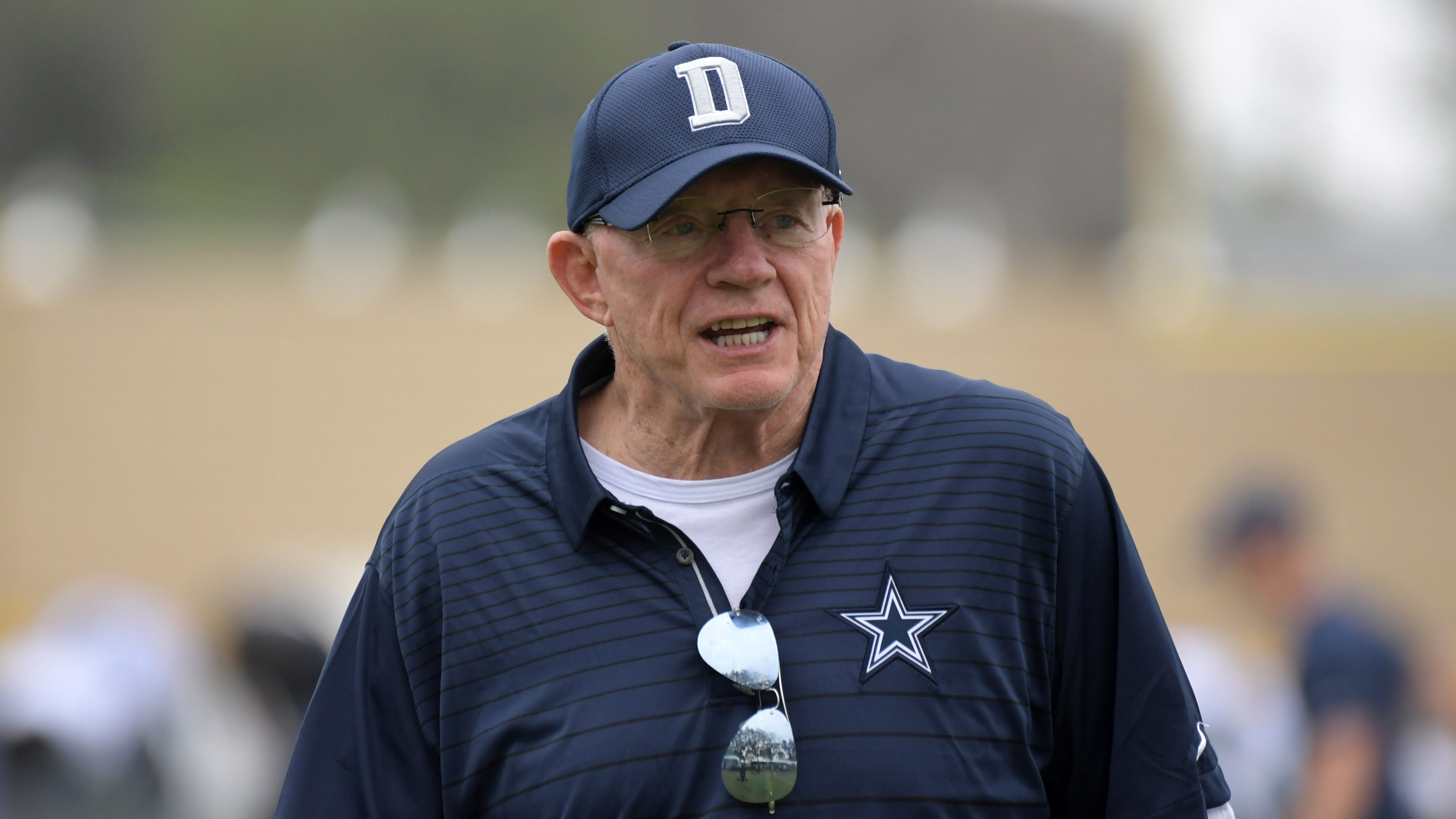 Dallas Cowboys owner Jerry Jones reacts during training camp.