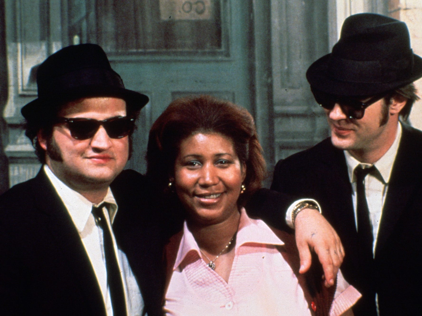 "John Belushi, left, Aretha Franklin and Dan Aykroyd in a scene from the 1980 motion picture ""The Blues Brothers."" CREDIT: Universal Pictures"