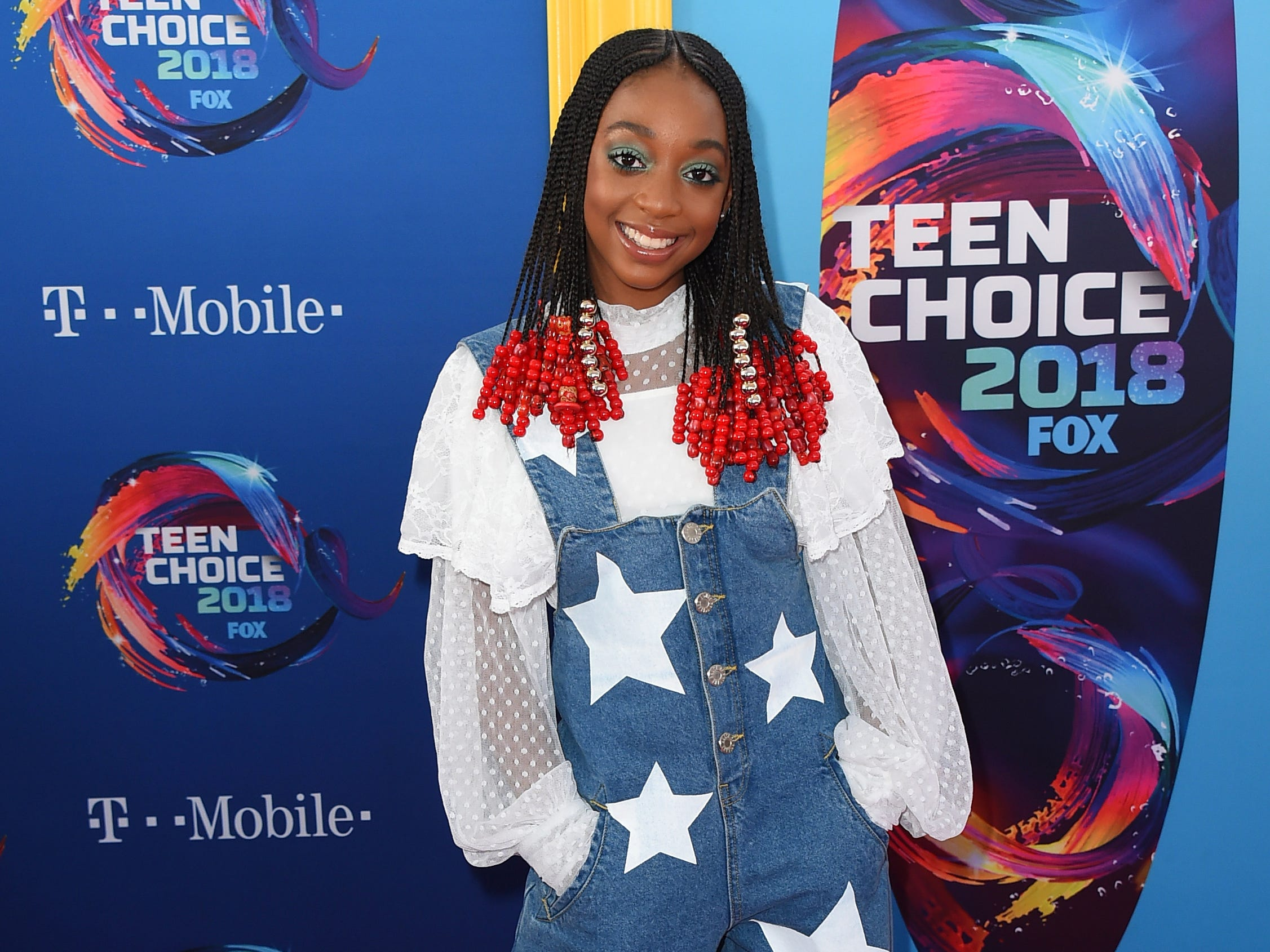 Eris Baker arrives at the Teen Choice Awards at The Forum on Sunday, Aug. 12, 2018, in Inglewood, Calif. (Photo by Jordan Strauss/Invision/AP) ORG XMIT: CAPM154