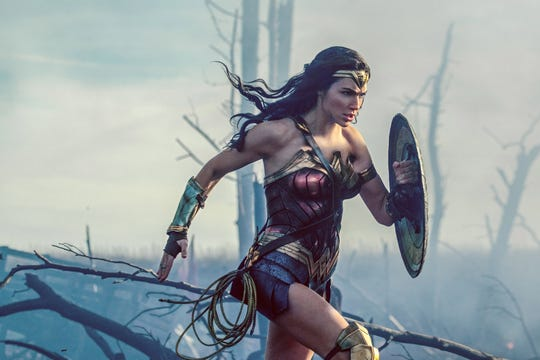 "Princess Diana (Gal Gadot) rushes into battle in ""Wonder Woman."""