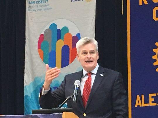 U.S. Senator Bill Cassidy speaks at the Alexandria Rotary Club Tuesday, Aug. 14, 2018.