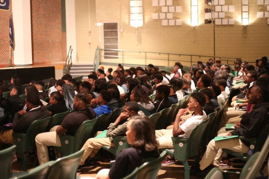 Freshmen attend their first day at Peabody Magnet High School.