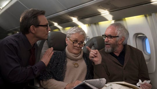 "Christian Slater as Nathaniel, from left, Glenn Close as Joan and Jonathan Pryce as Joe in ""The Wife."""