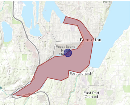 Approximate location of sewage spill noted with bullseye.