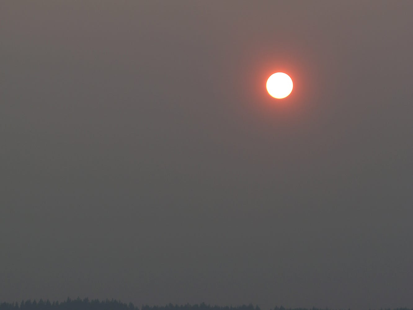 The sun turns orange red as it cuts through the smoky haze at the Tracyton Boat ramp on Monday August 13, 2018.