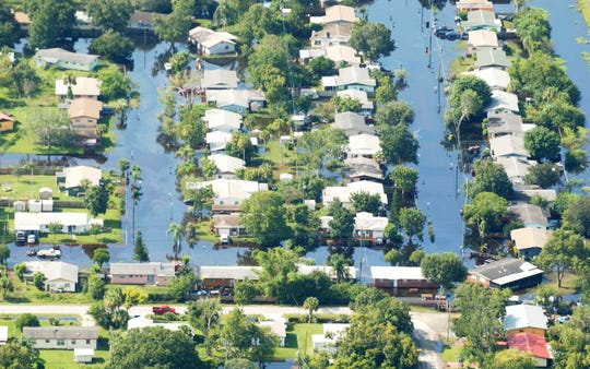 Flooding in the Stratford Drive area of Cocoa as seen from an airplane on Aug. 24, 2008.