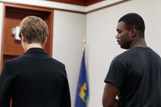 Octavious Allen-Napier, 24, of Philadelphia, Pennsylvania, right, appears in Vermont Superior Court in Burlington on Tuesday, Aug. 14, 2018 with attorney Mandy Lewis.