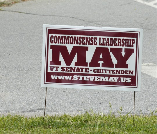 A 2018 campaign sign for State Senate candidate Steve May.