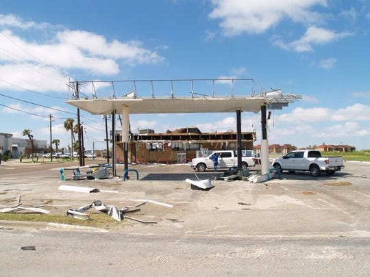 A Stripes Convenience Store on East Cotter Avenue was closed because of damage after Hurricane Harvey made landfall on Aug. 25, 2017.
