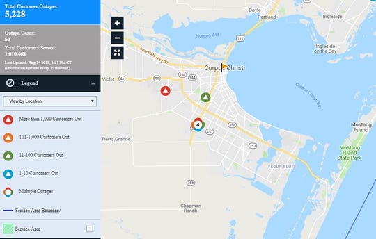 A screenshot of an American Electric Power map shows several outages affecting more than 5,000 residents in Corpus Christi.