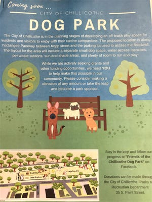 This leaflet is being circulated to bring awareness to plans for a city dog park.