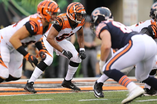 Cincinnati Bengals linebacker Hardy Nickerson (56), center, defends in the second quarter during the Week 1 NFL preseason game between the Chicago Bears and the Cincinnati Bengals, Thursday, Aug. 9, 2018, at Paul Brown Stadium in Cincinnati.