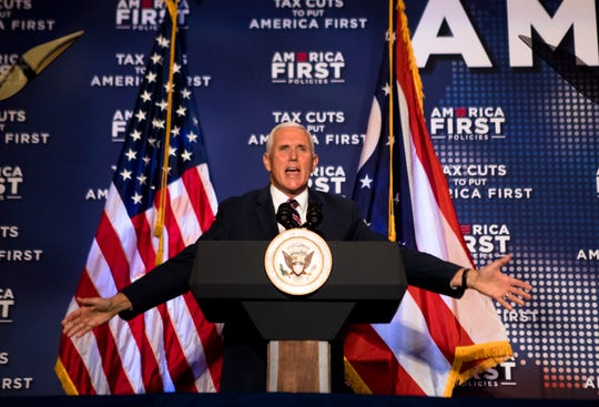Vice President Mike Pence speaks during the America First Tax Cuts to Put America First event at  The Westin in downtown Cincinnati, Ohio, on Tuesday, Aug. 14, 2018.