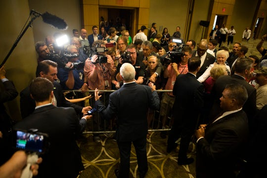 Vice President Mike Pence speaks to members of the media during the America First Tax Cuts to Put America First event at  The Westin in downtown Cincinnati, Ohio, on Tuesday, Aug. 14, 2018.
