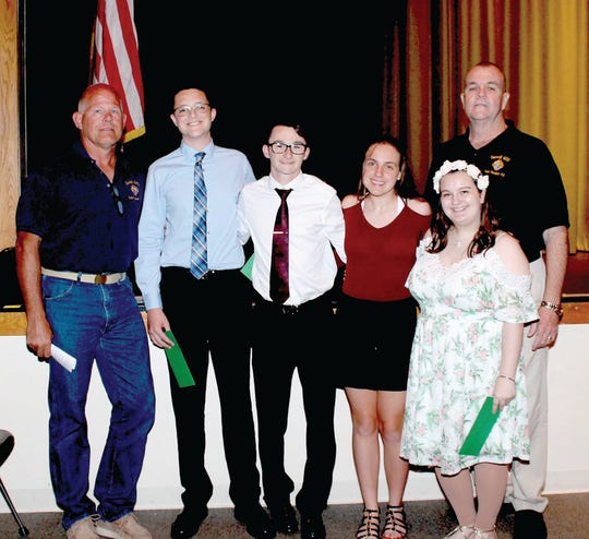 Left to right: Knights member Tom Walsh with South Plainfield High School students Jack Scrudato, Brandon Wizda, Tatianna Sutor, Kathryn Berry and Knights member Harold Bolton.  Stephen Kleczkowski, Dominick Mazzaferro and Nicholas Robertson received there scholarships separately.