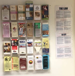Pamphlets at the Proteus Inc. office in Iowa City help migrant workers understand health care opportunities while in Iowa.