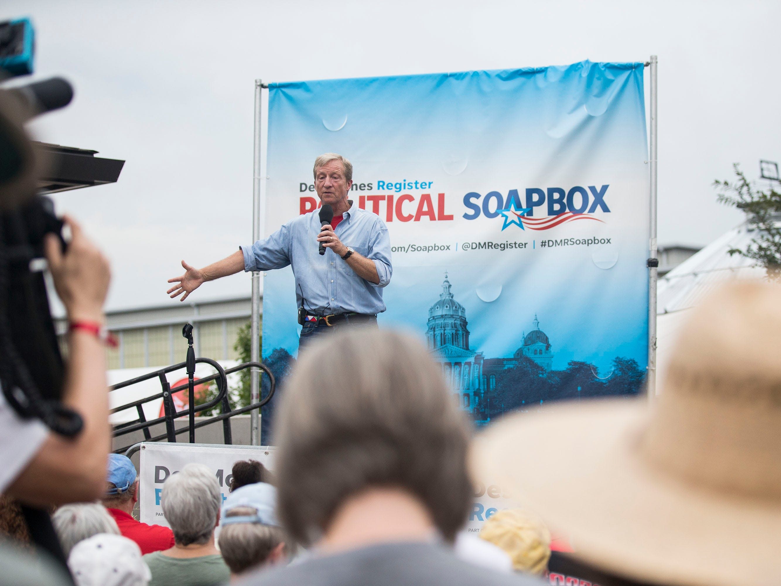 Tom Steyer, a Democratic donor and activist from California, speaks at the Des Moines Register Political Soapbox on Tuesday, Aug. 14, 2018, at the Iowa State Fair.