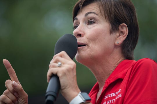 Kim Reynolds, Governor of Iowa, speaks at the Des Moines Register Political Soapbox on Tuesday, Aug. 14, 2018, at the Iowa State Fair.