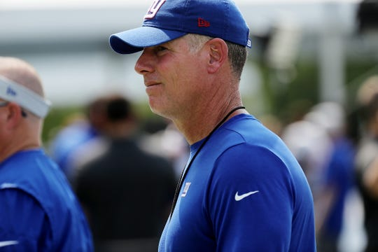 Giants coach Pat Shurmur is seen walking off the field after practice in training camp on Tuesday, Aug. 14, 2018, in Allen Park.