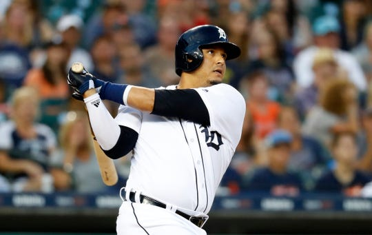 Tigers designated hitter Victor Martinez doubles in the fourth inning on Monday, Aug. 13, 2018, at Comerica Park.