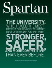 "Cover of ""Spartan"", the Michigan State University alumni magazine for the summer of 2018 issue."