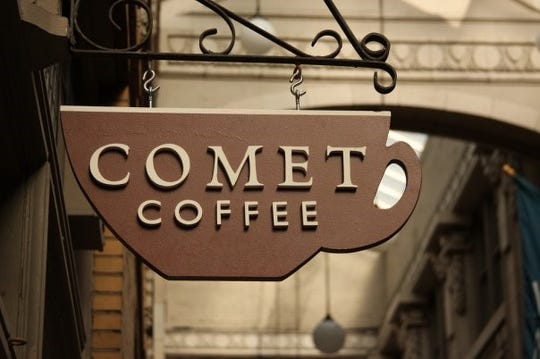Comet Coffee in Ann Arbor is a small shop across from the University of Michigan with great, friendly service.