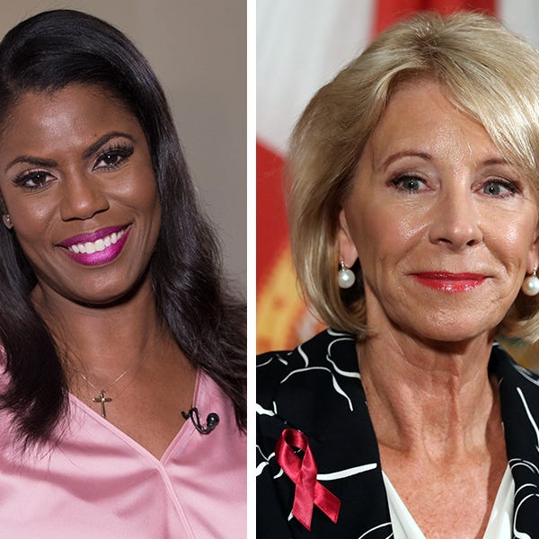 Omarosa Manigault Newman, left, and Betsy DeVos