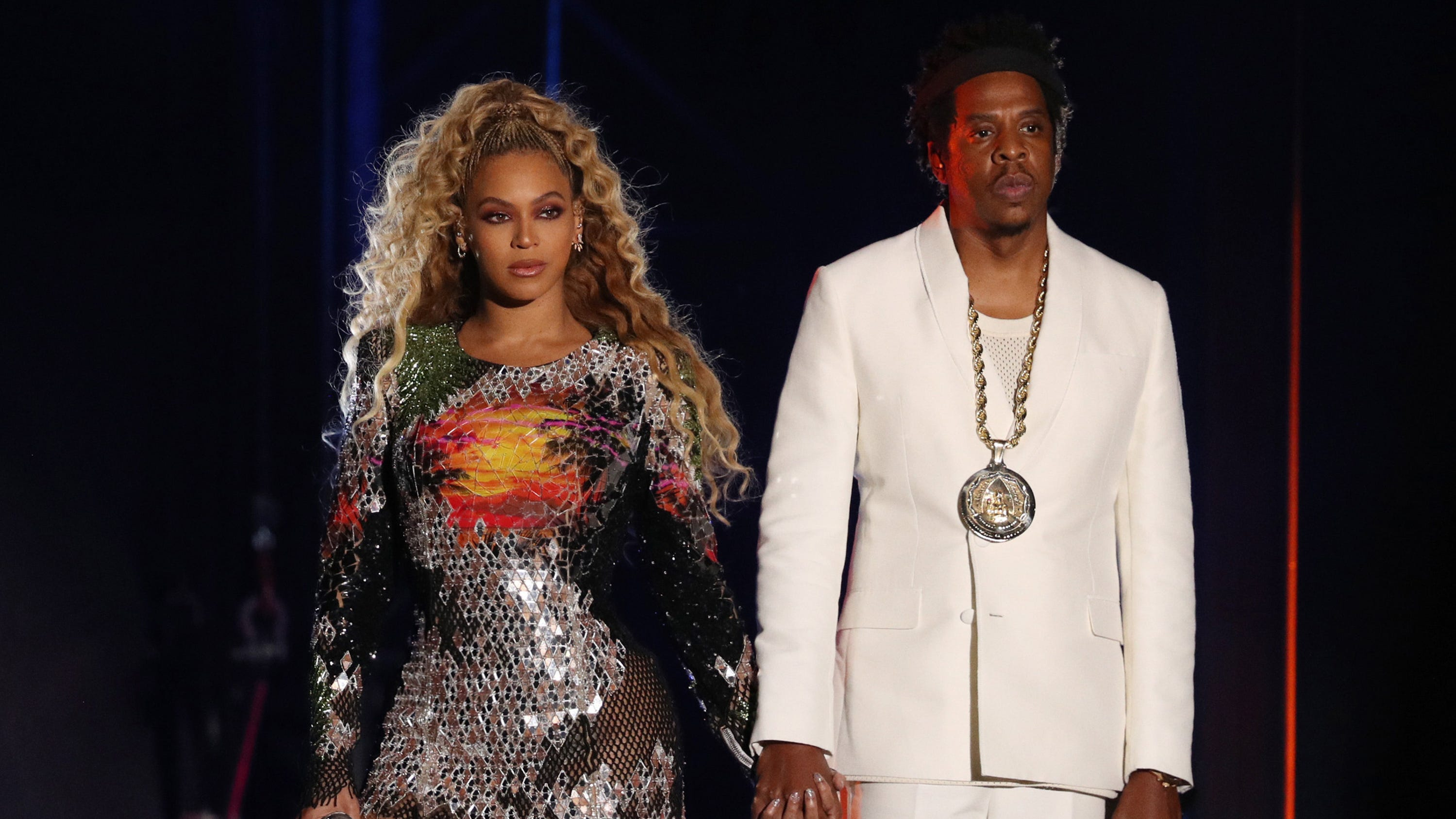 "Beyoncé and Jay-Z perform on the ""On The Run II"" tour at Ford Field on August 13, 2018 in Detroit."