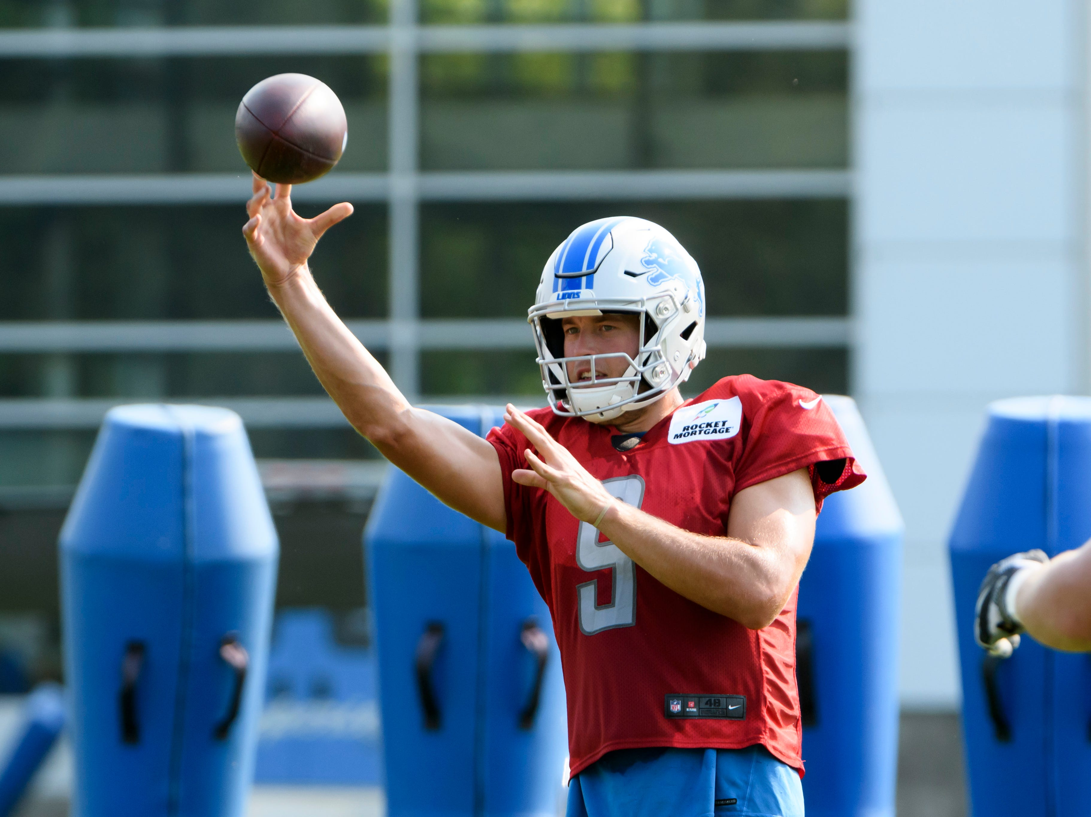 Lions quarterback Matthew Stafford throws a pass during practice.