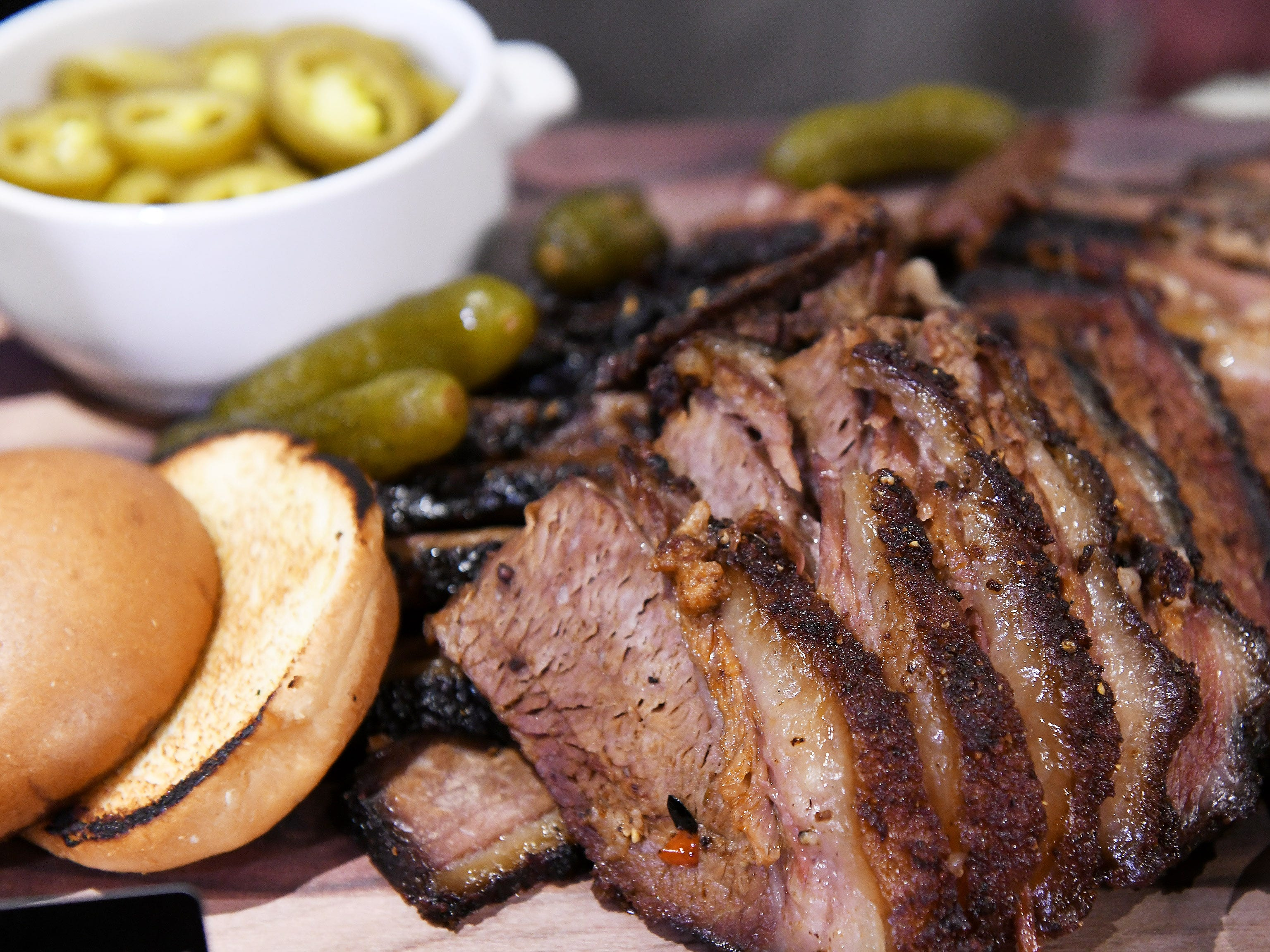 Cherry pepper brisket available at the Miller Tap Room is one of the new food and concession choices at Ford Field, during a sneak preview in Detroit, Michigan on August 14, 2018.