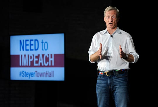 Billionaire liberal activist Tom Steyer addresses the crowd during one of 30 national stops in his Need to Impeach campaign in 2018  in Detroit, Mich. Steyer is campaigning to have people sign his petition to impeach President Donald Trump.