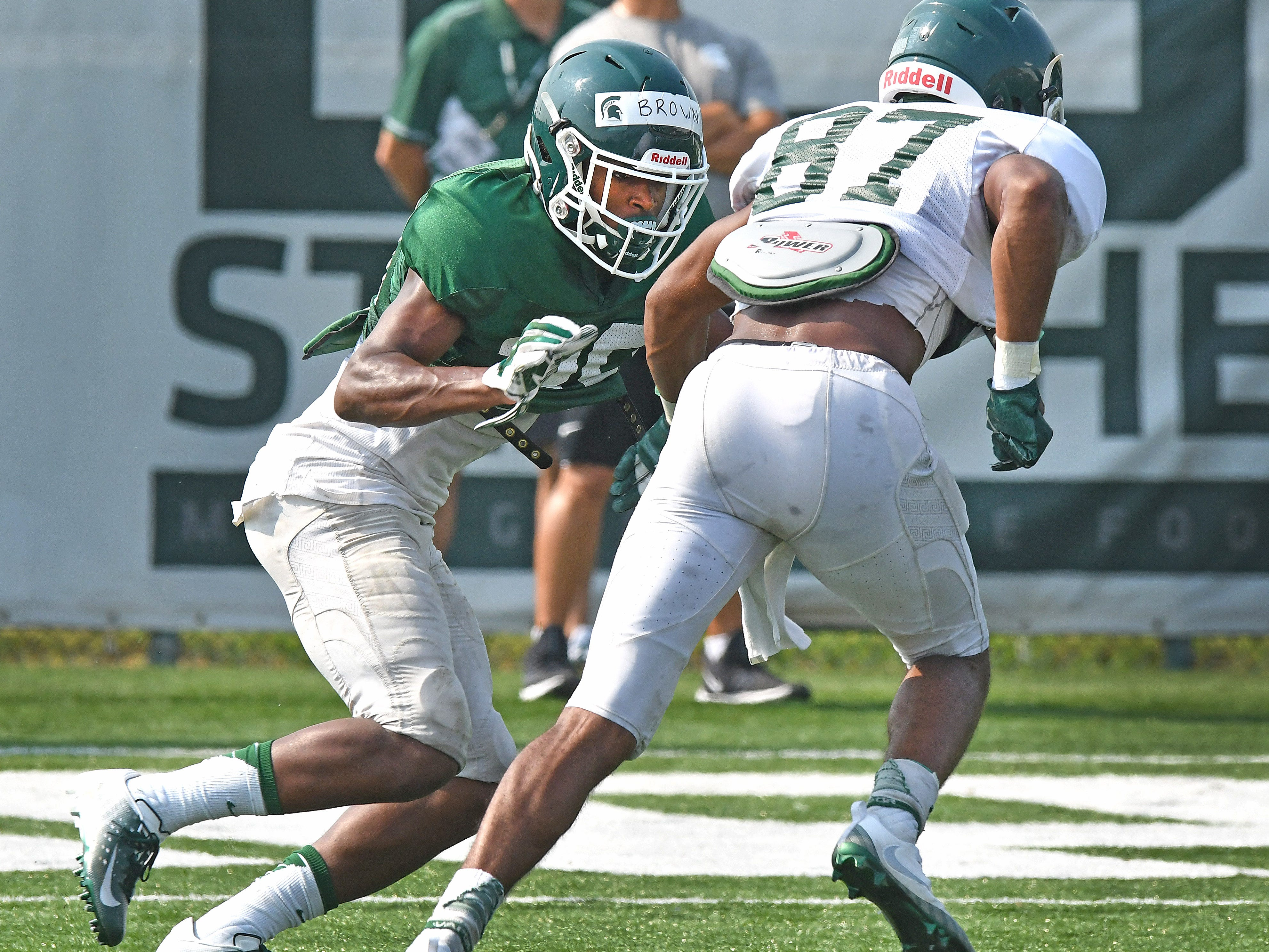 Cornerback Shakur Brown, left, has a shot at getting a starting spot in MSU's secondary.