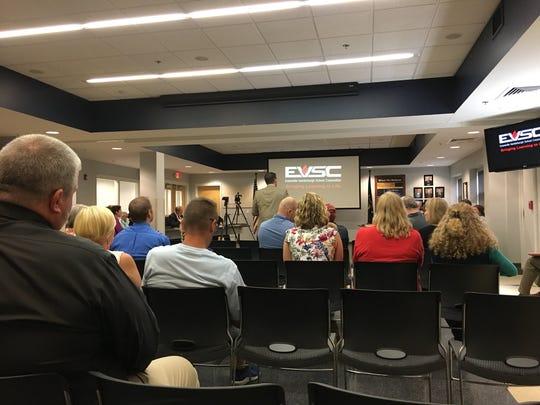 An EVSC School Board meeting on Aug. 13, 2018.